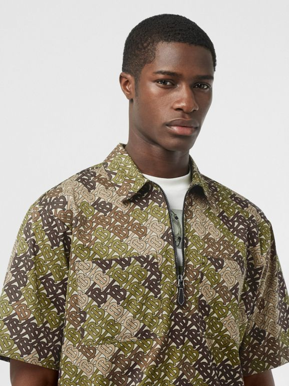 Short-sleeve Monogram Print Cotton Shirt in Khaki Green - Men | Burberry - cell image 1