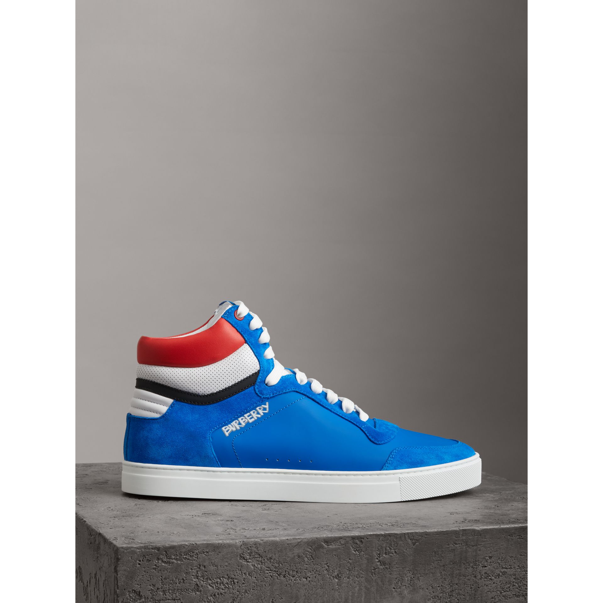 Leather and Suede High-top Sneakers in Bright Sky Blue - Men | Burberry - gallery image 4
