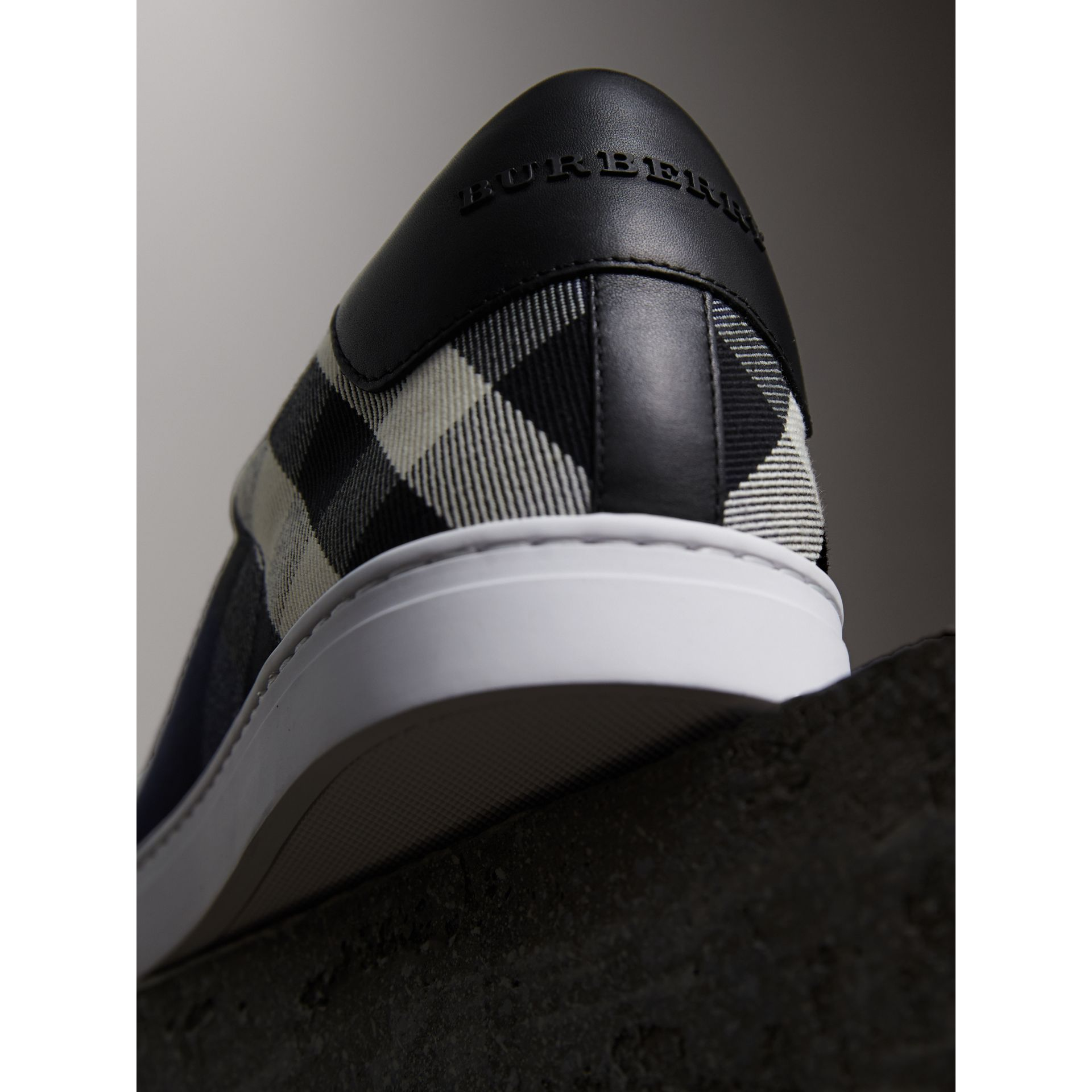 Overdyed House Check Cotton Trainers in Indigo Blue/black - Men | Burberry - gallery image 3