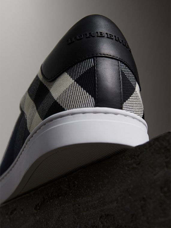 Overdyed House Check Cotton Trainers in Indigo Blue/black - Men | Burberry - cell image 2