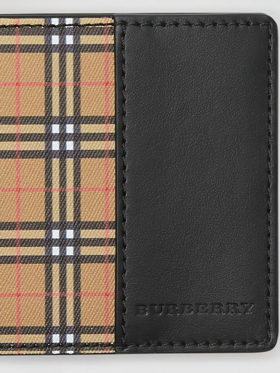 Small Scale Check and Leather Bifold Wallet in Antique Yellow/black - Men | Burberry Singapore - cell image 1