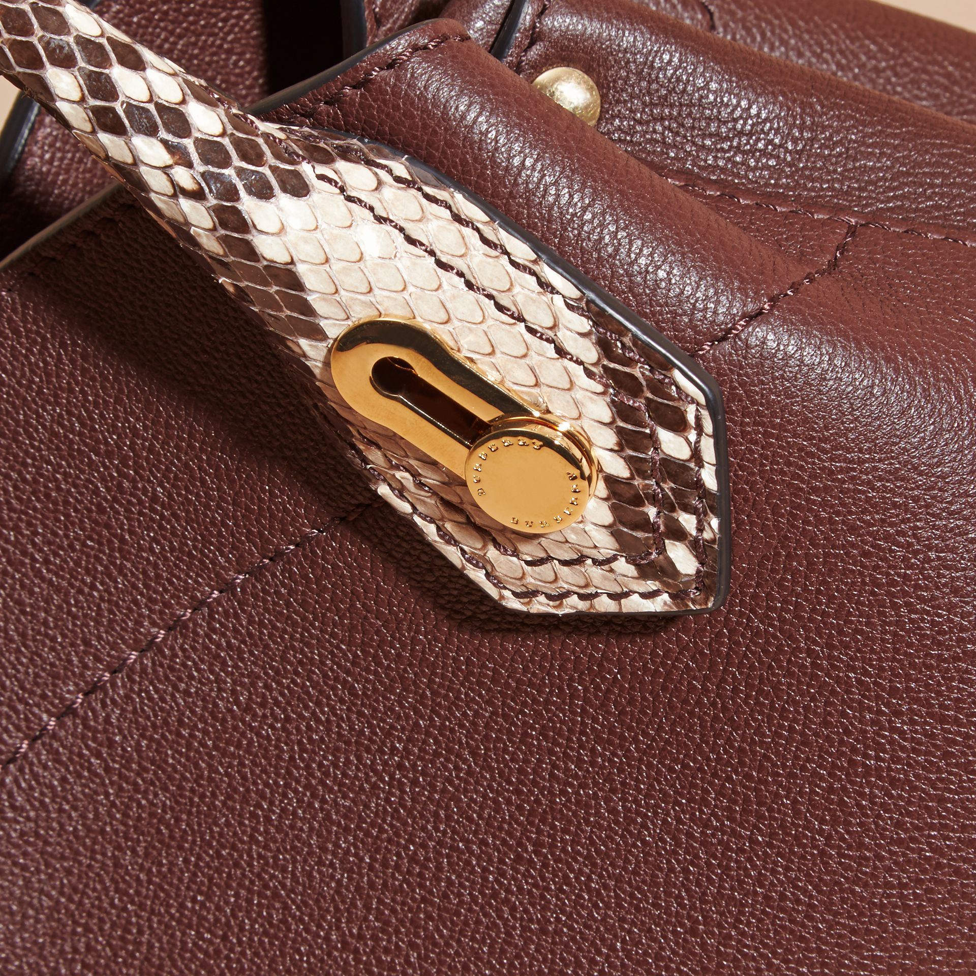 Dark chocolate The Baby Milton in Leather and Python - gallery image 2