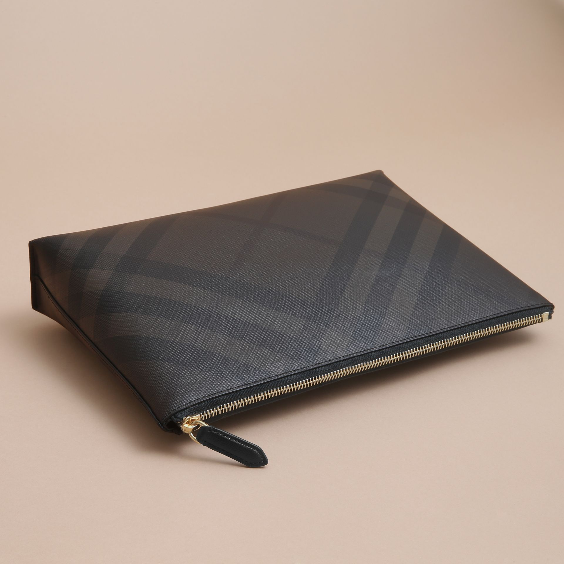 Large London Check Zip Pouch in Chocolate/black - Men | Burberry - gallery image 4
