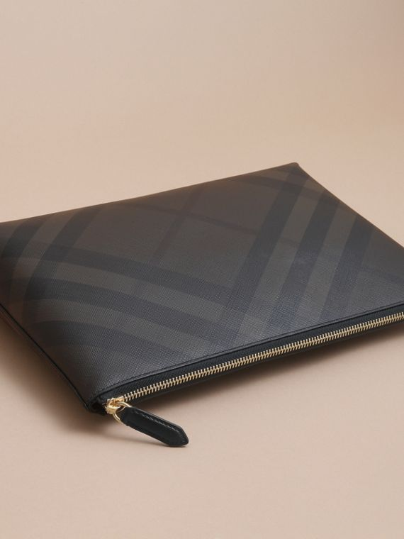 Large London Check Zip Pouch in Chocolate/black - Men | Burberry - cell image 3