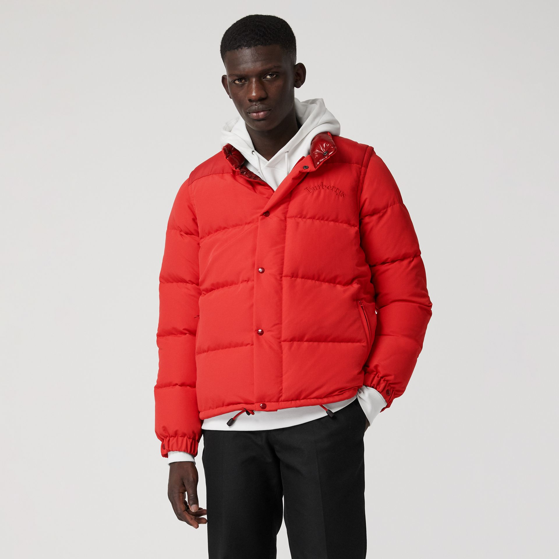 Detachable-sleeve Down-filled Puffer Jacket in Bright Red - Men | Burberry - gallery image 5