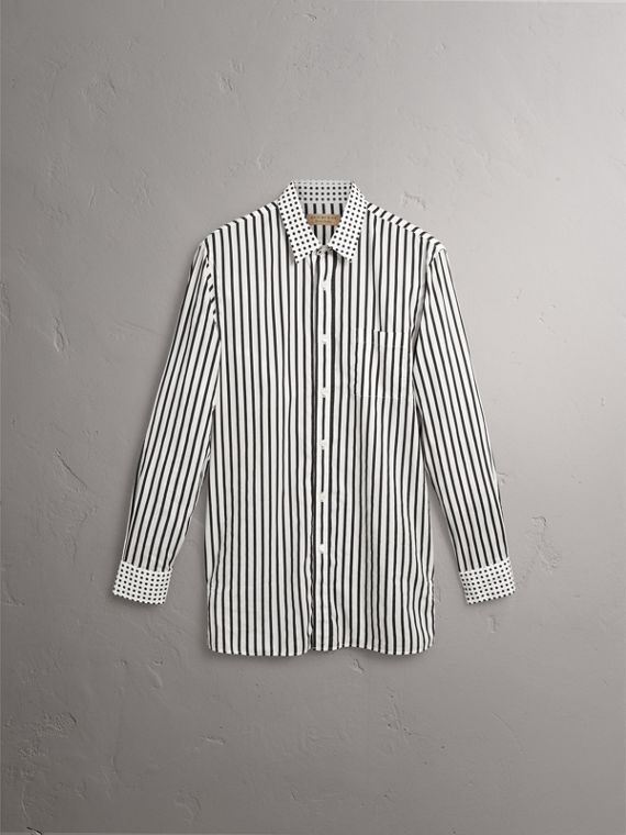 Stripe and Spot Print Cotton Shirt in Black - Men | Burberry Singapore - cell image 3