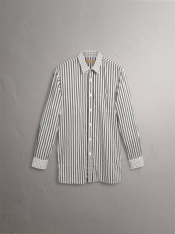 Stripe and Spot Print Cotton Shirt in Black - Men | Burberry - cell image 3