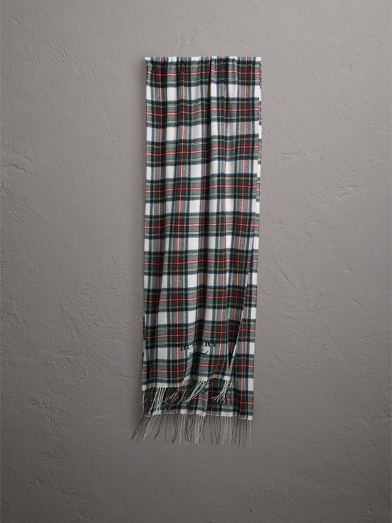 Oversized Tartan Cashmere Merino Wool Scarf in Natural White