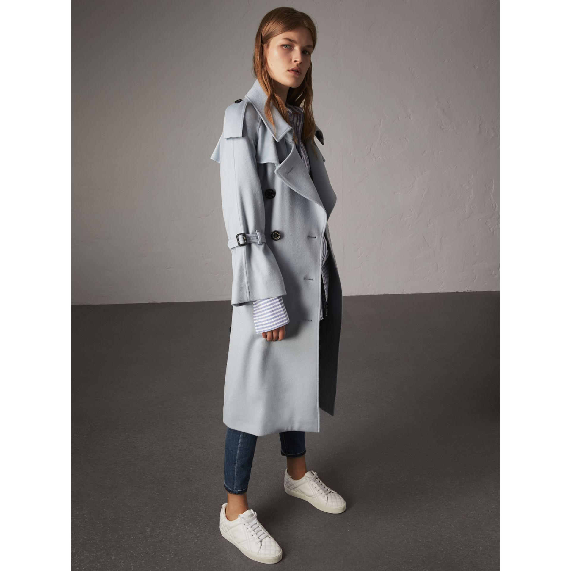 Ruffled Storm Shield Cashmere Trench Coat in Mineral Blue - Women | Burberry Australia - gallery image 6