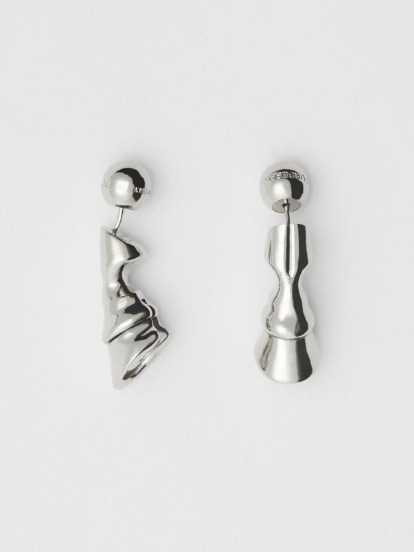 Palladium-plated Hoof Earrings - Women | Burberry - cell image 3