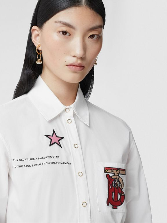 Montage Print Cotton Shirt in White - Women | Burberry Canada - cell image 1