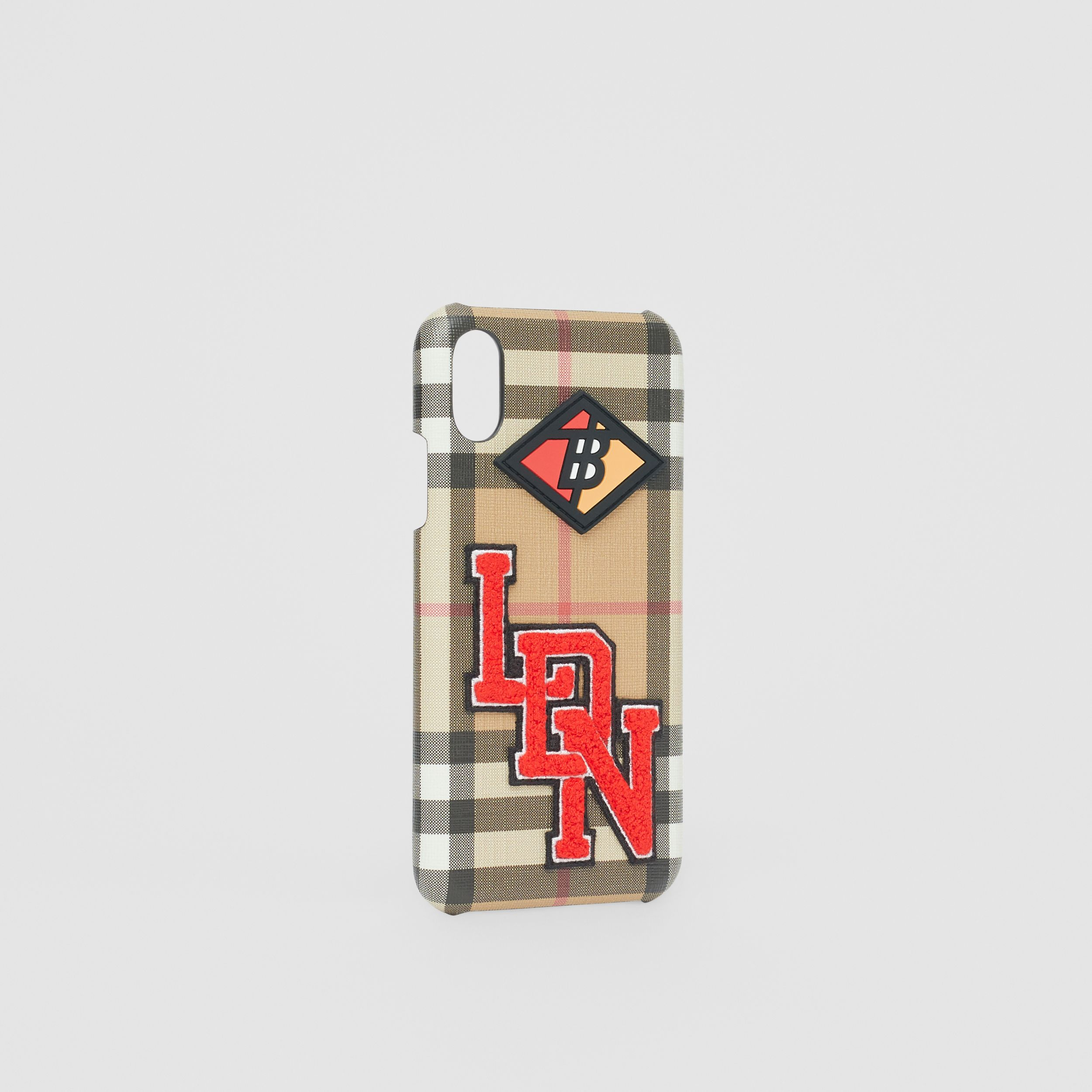 Logo Graphic Vintage Check iPhone X/XS Case in Archive Beige | Burberry Singapore - 3