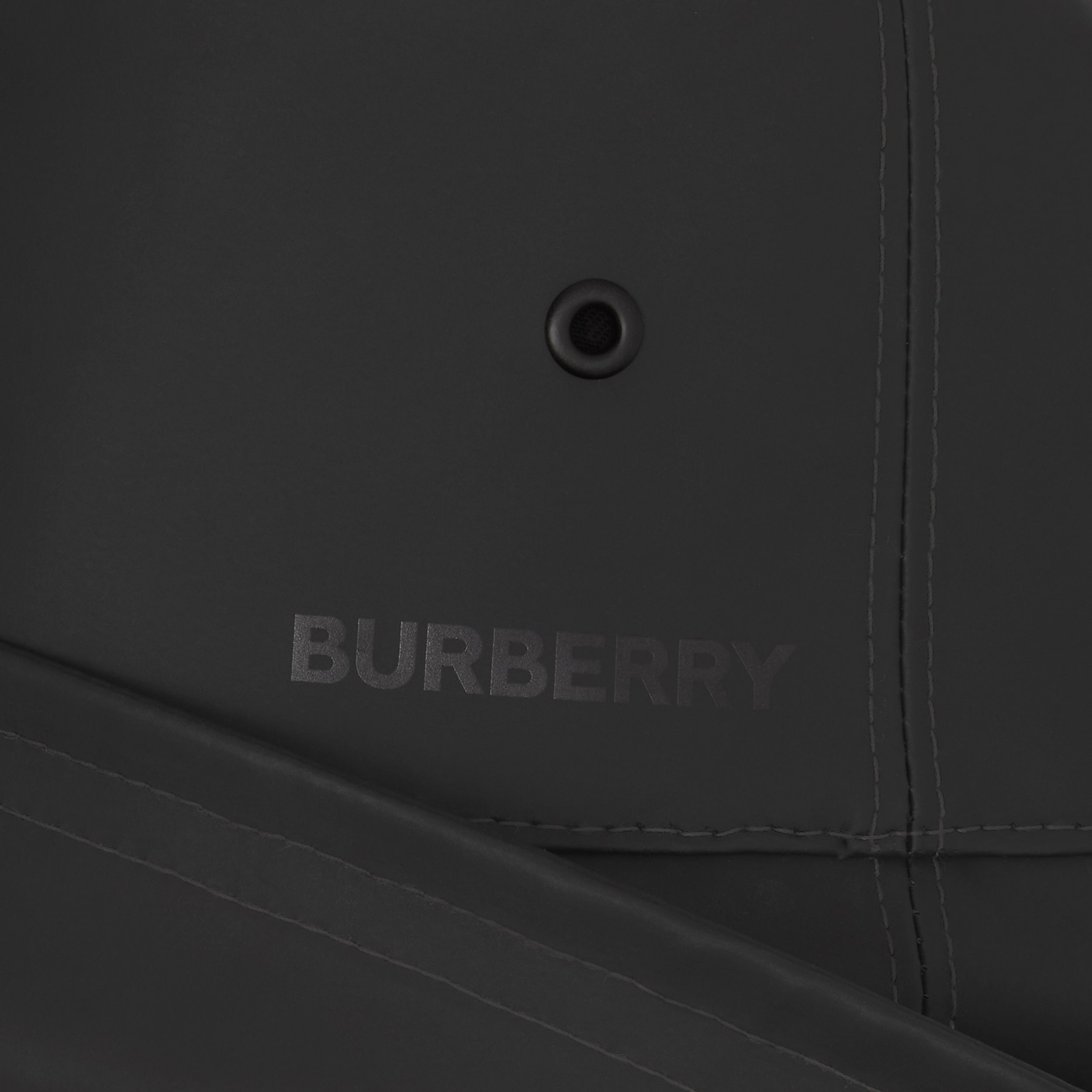 Topstitched Rubberised Cotton Fisherman Hat in Black | Burberry - 2