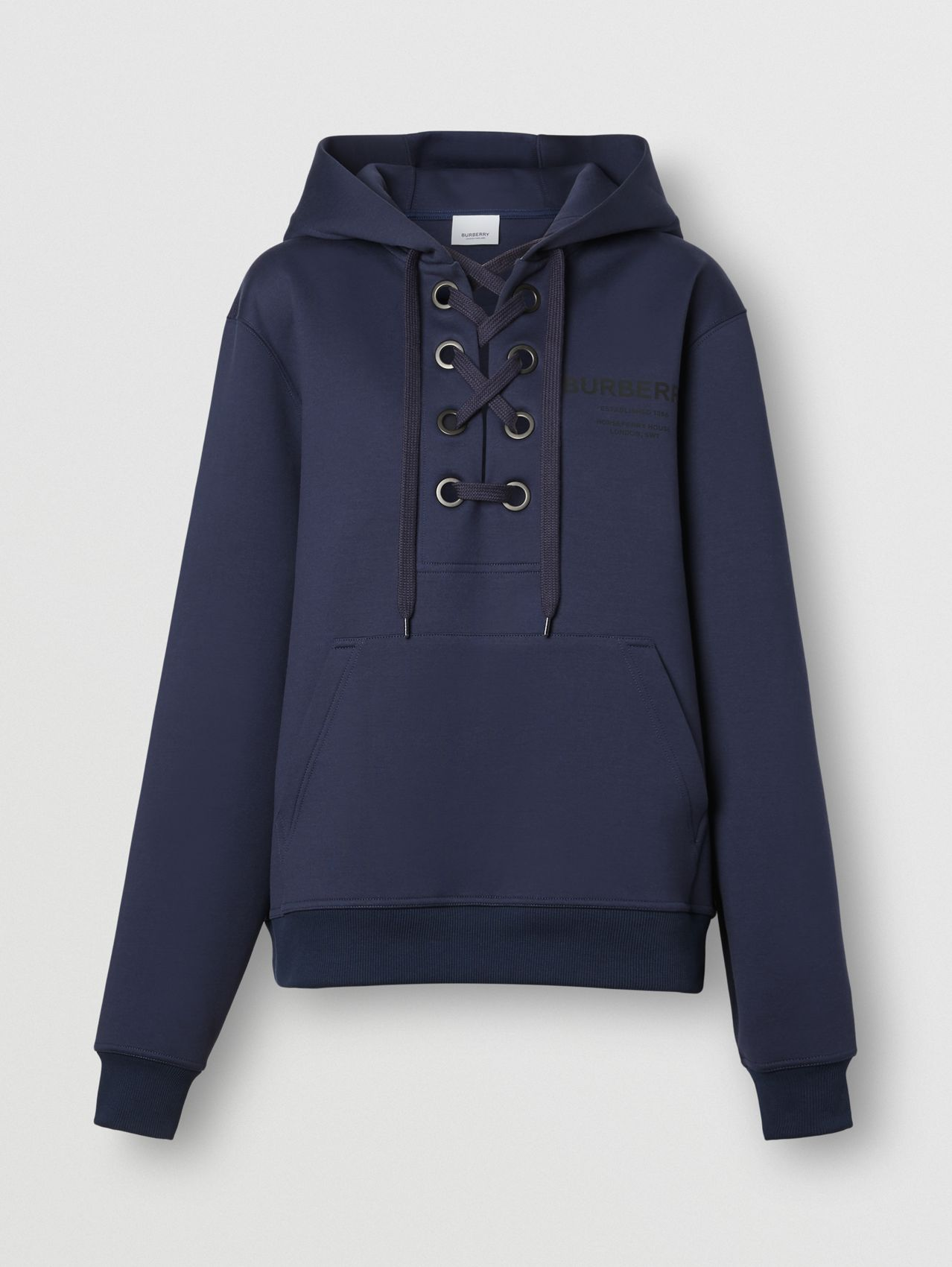 Lace-up Horseferry Print Cotton Oversized Hoodie in Bright Navy