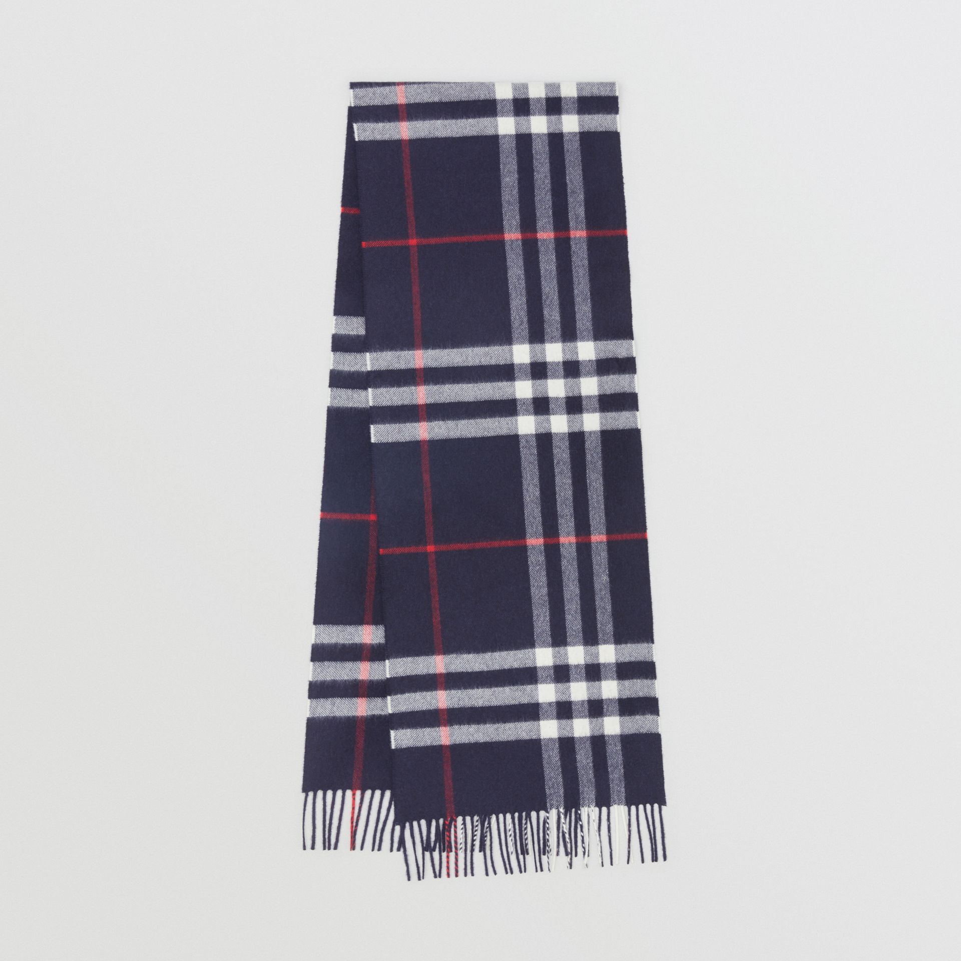 The Classic Check Cashmere Scarf in Navy | Burberry Singapore - gallery image 0