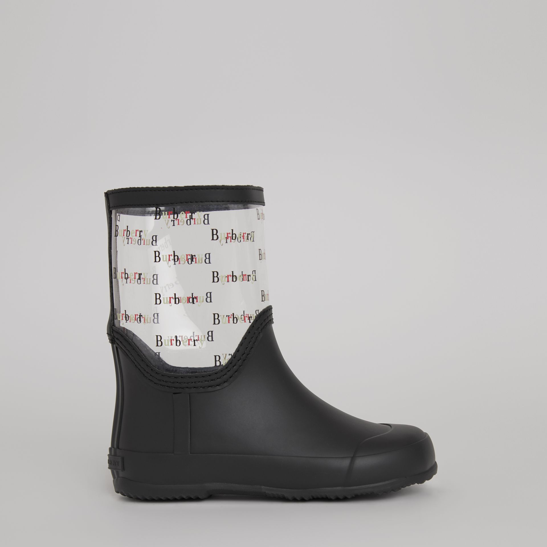 Logo Print Rubber Rain Boots in Black | Burberry Hong Kong - gallery image 3