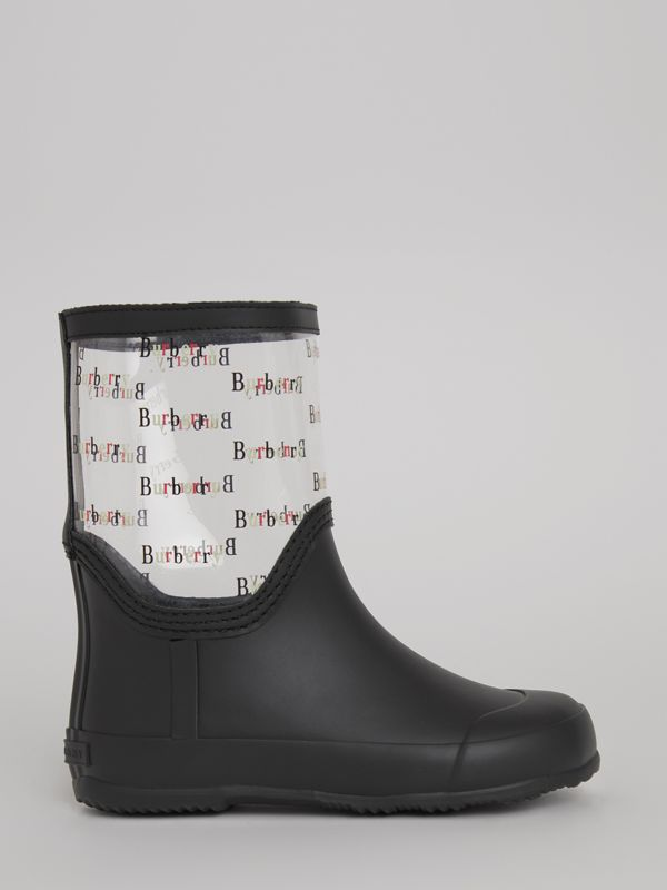 Logo Print Rubber Rain Boots in Black | Burberry - cell image 3