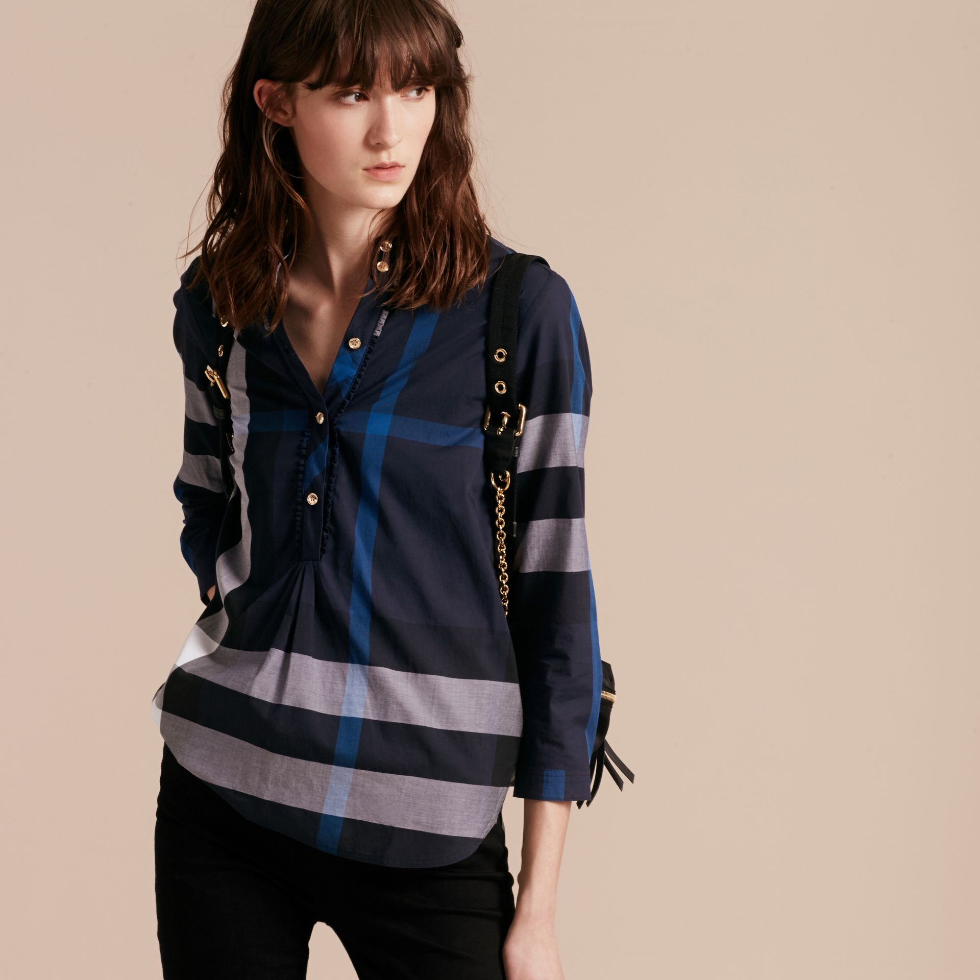 Check Cotton Tunic Shirt Navy - gallery image 6