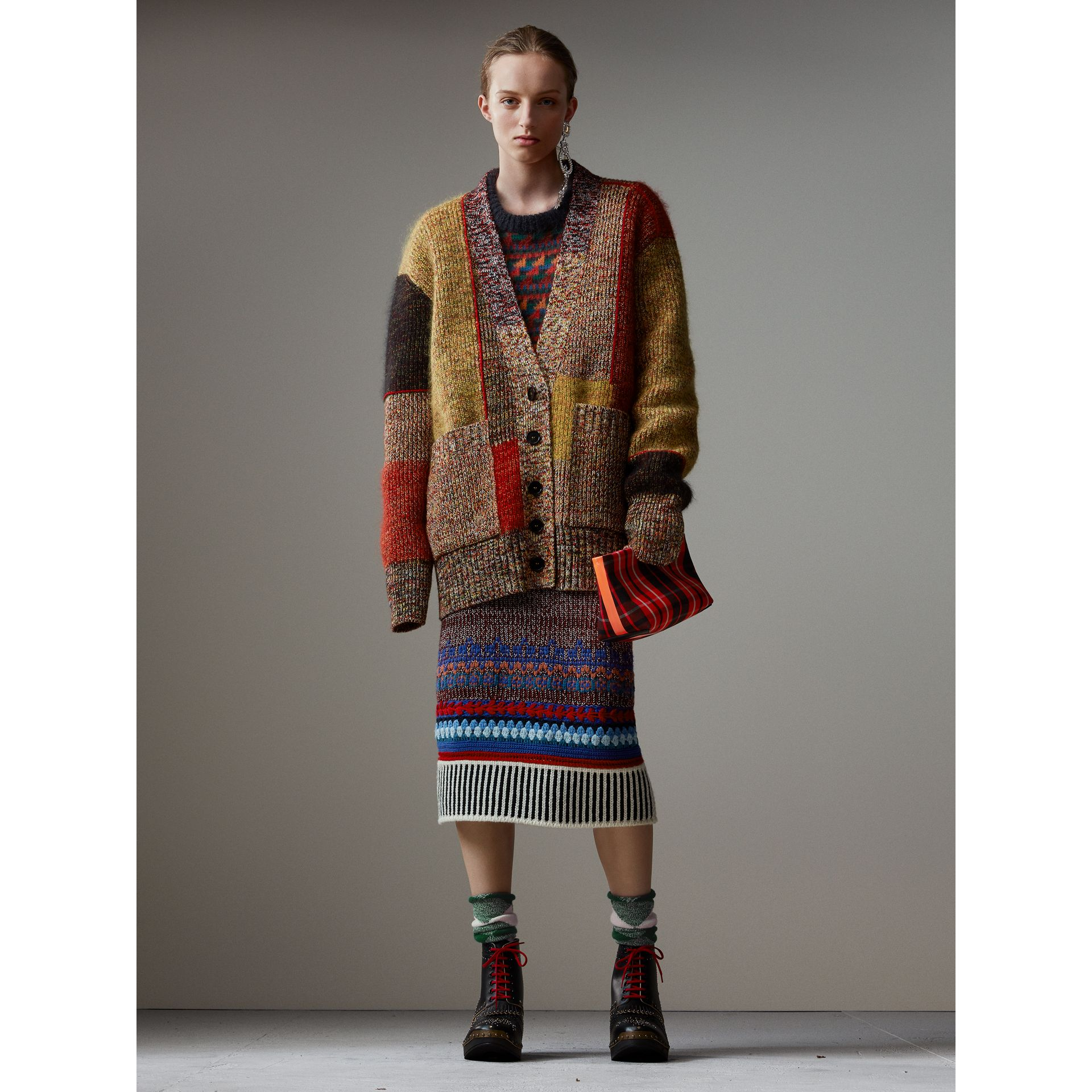 Wool Linen Mohair Blend Mouliné Oversized Cardigan in Multicolour - Women | Burberry United Kingdom - gallery image 1