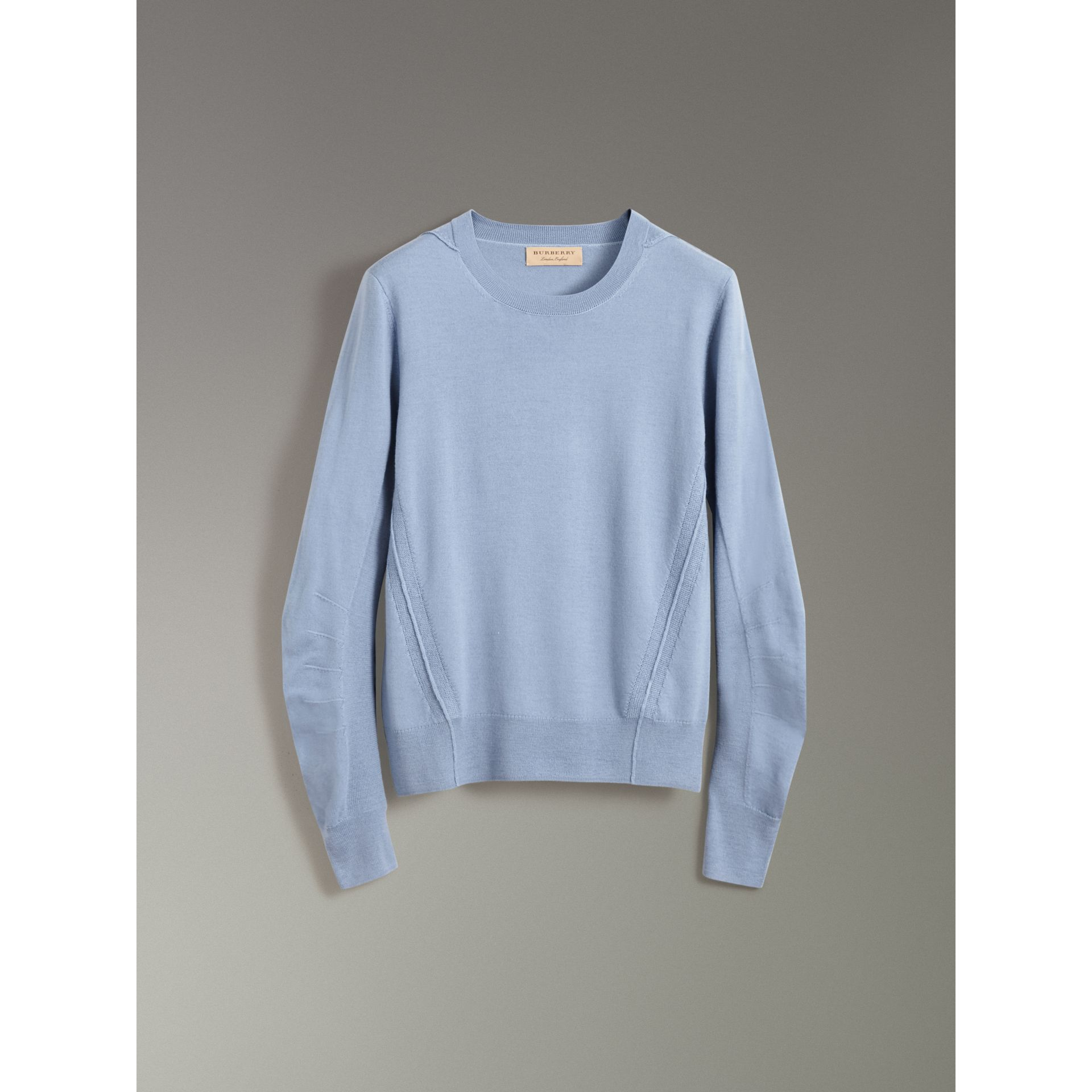 Check Detail Merino Wool Sweater in Stone Blue - Men | Burberry United Kingdom - gallery image 3