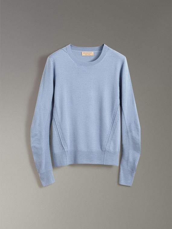Check Detail Merino Wool Sweater in Stone Blue - Men | Burberry United Kingdom - cell image 3