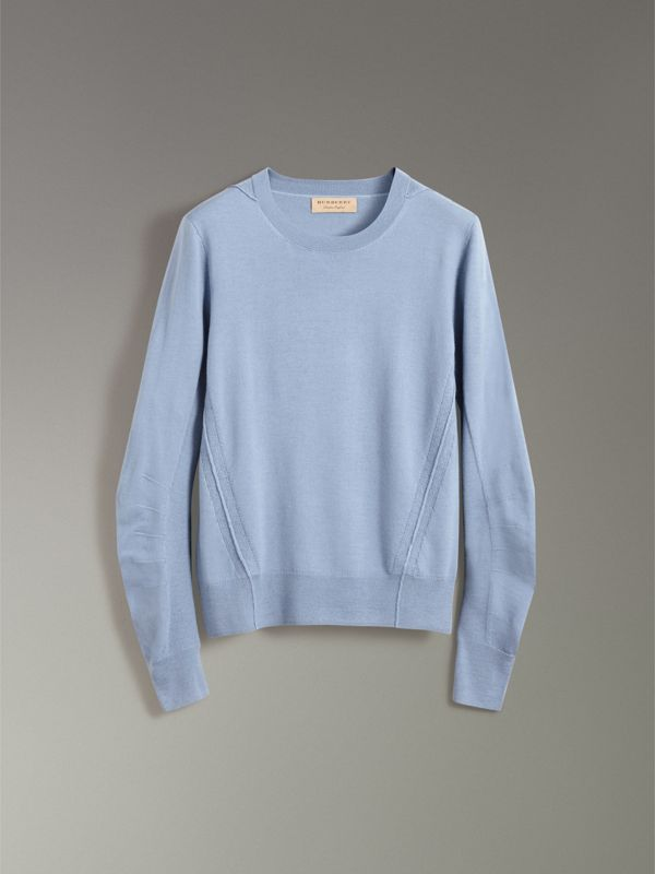 Check Detail Merino Wool Sweater in Stone Blue - Men | Burberry - cell image 3