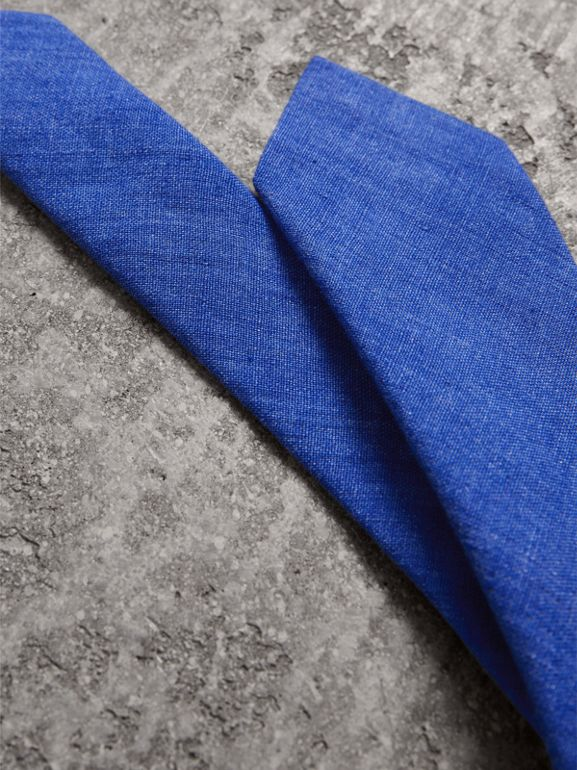 Slim Cut Linen Tie in Violet Blue - Men | Burberry - cell image 1