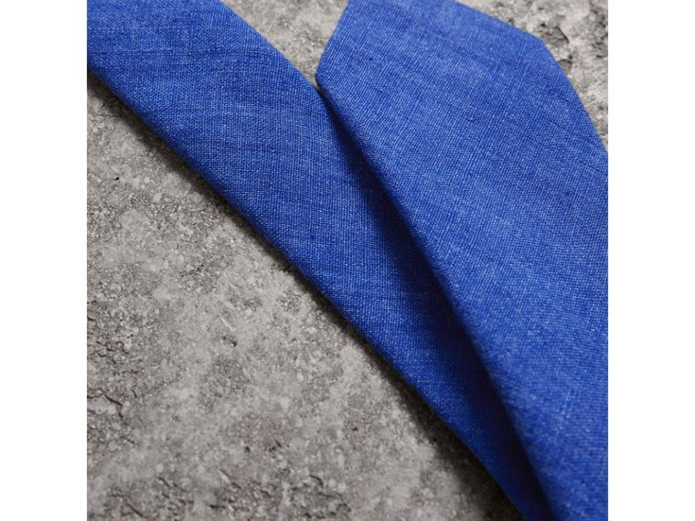 Slim Cut Linen Tie in Violet Blue - Men | Burberry United Kingdom - cell image 1