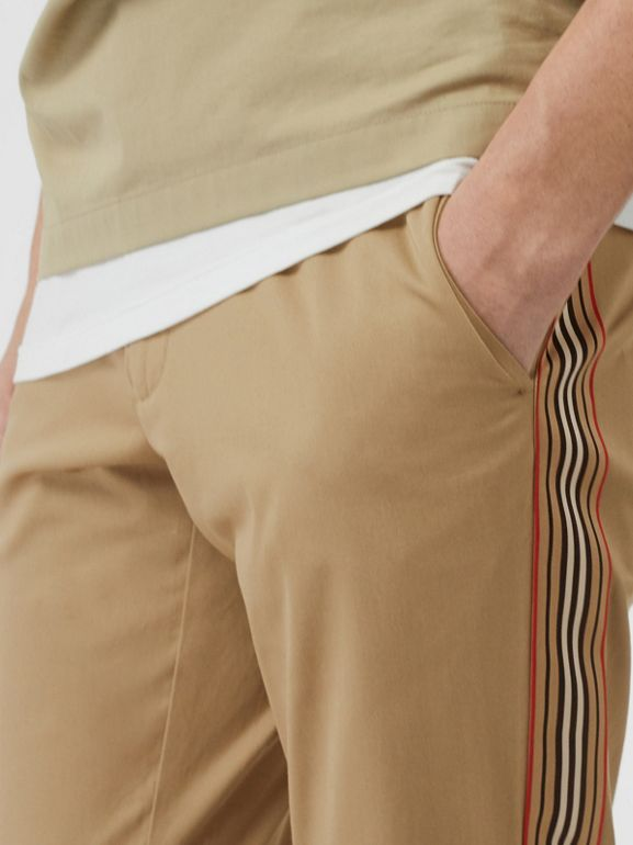 Slim Fit Icon Stripe Detail Cotton Chinos in Honey - Men | Burberry Canada - cell image 1