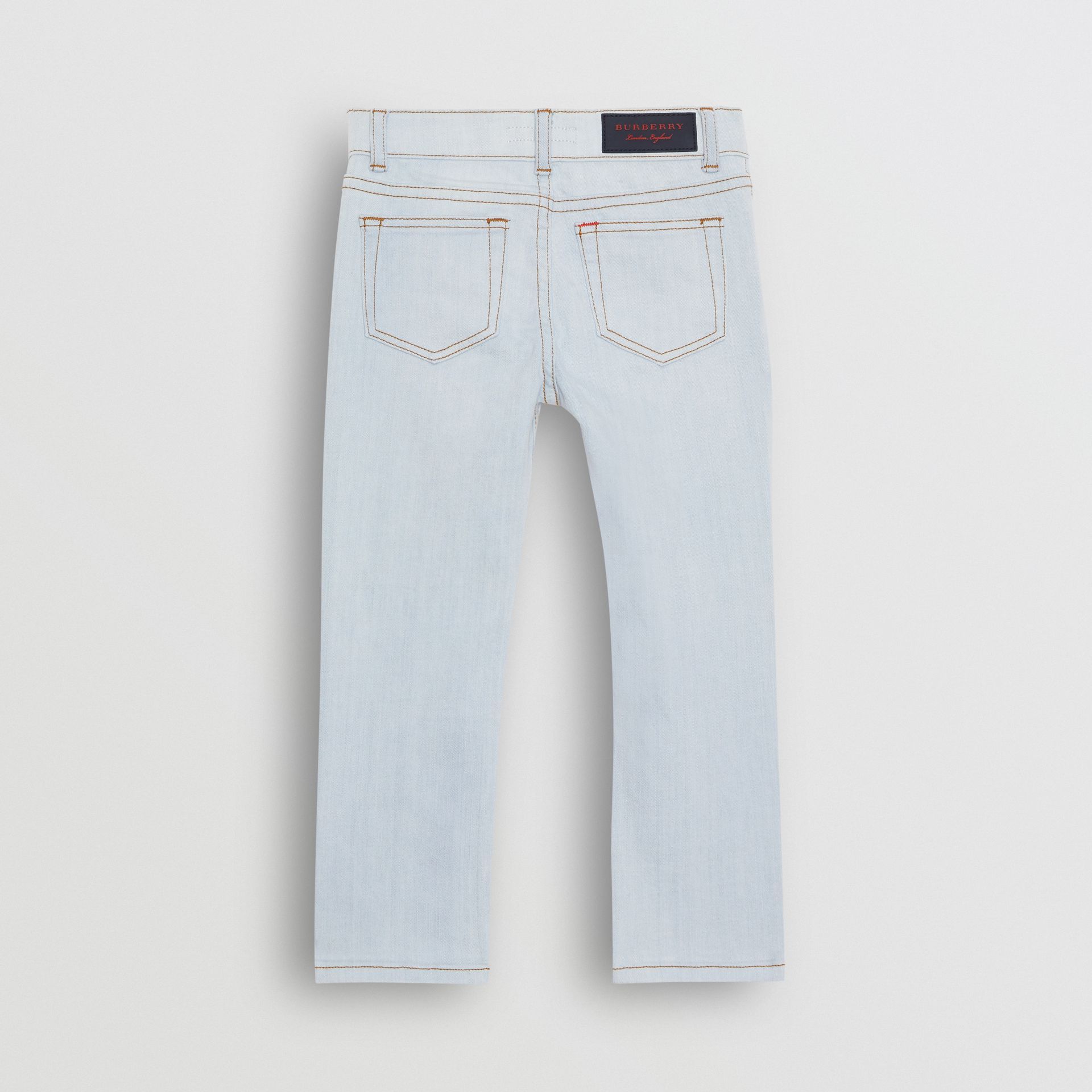 Skinny Fit Stretch Jeans in Light Blue - Boy | Burberry - gallery image 3