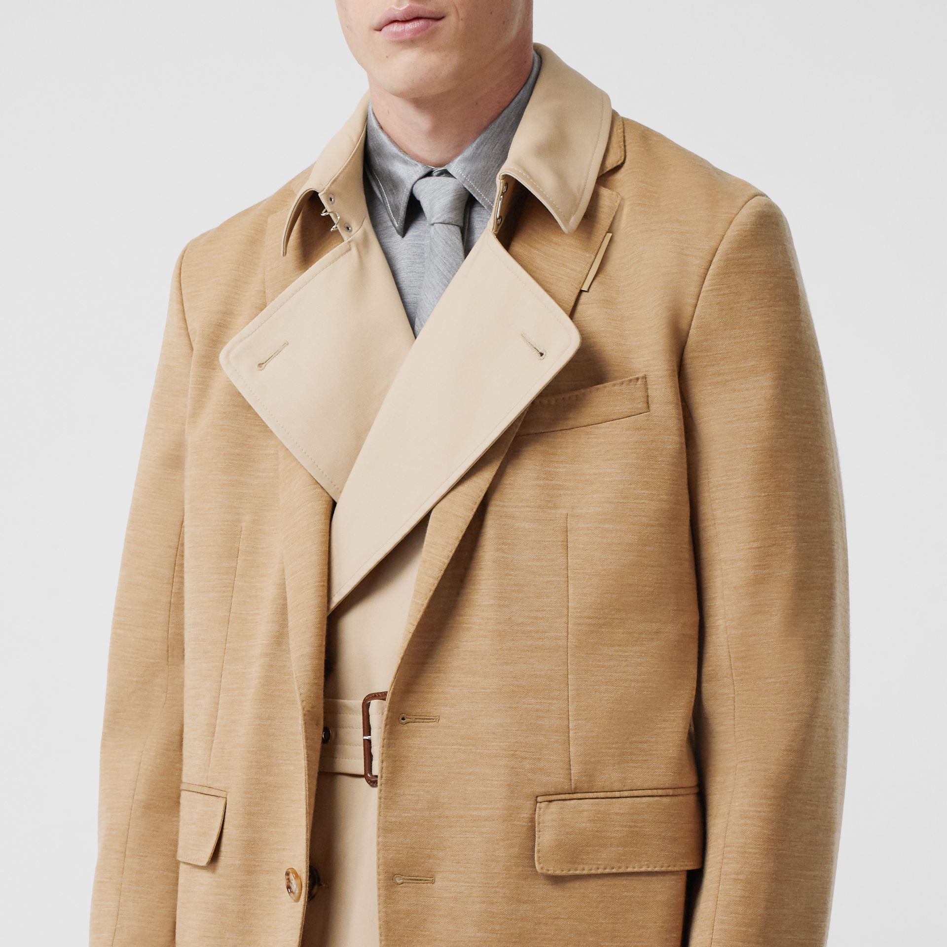 Blazer Detail Cotton Twill Reconstructed Trench Coat in Soft Fawn - Men | Burberry - gallery image 4