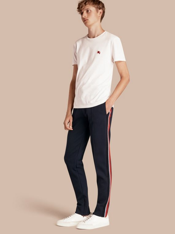 Sports-striped Cotton Blend Sweat Pants