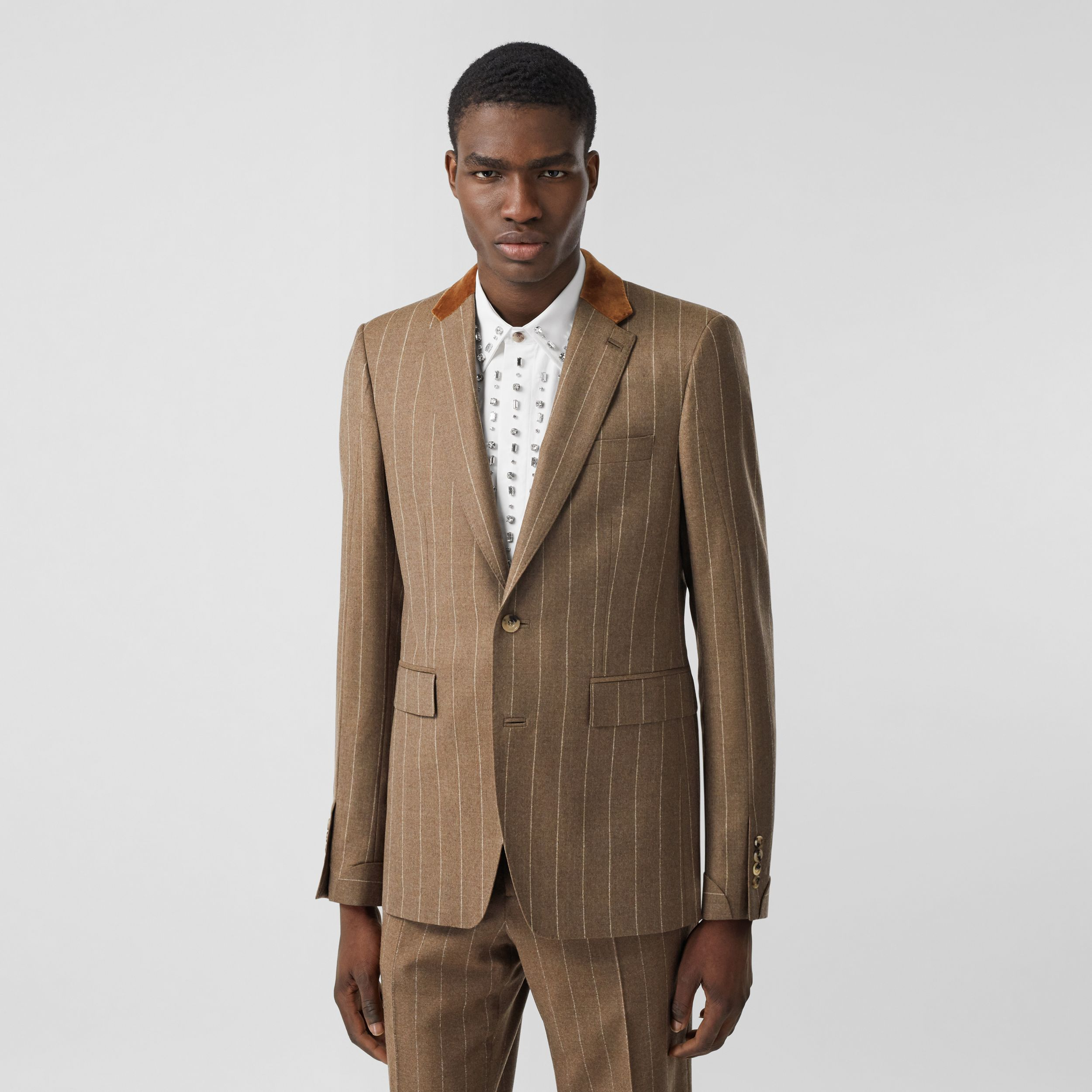 Classic Fit Velvet Trim Wool Cashmere Tailored Jacket in Dark Tan - Men | Burberry - 1