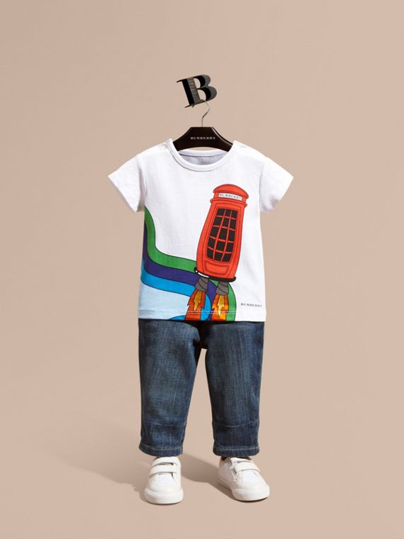 Rocket Telephone Box Print Cotton T-shirt
