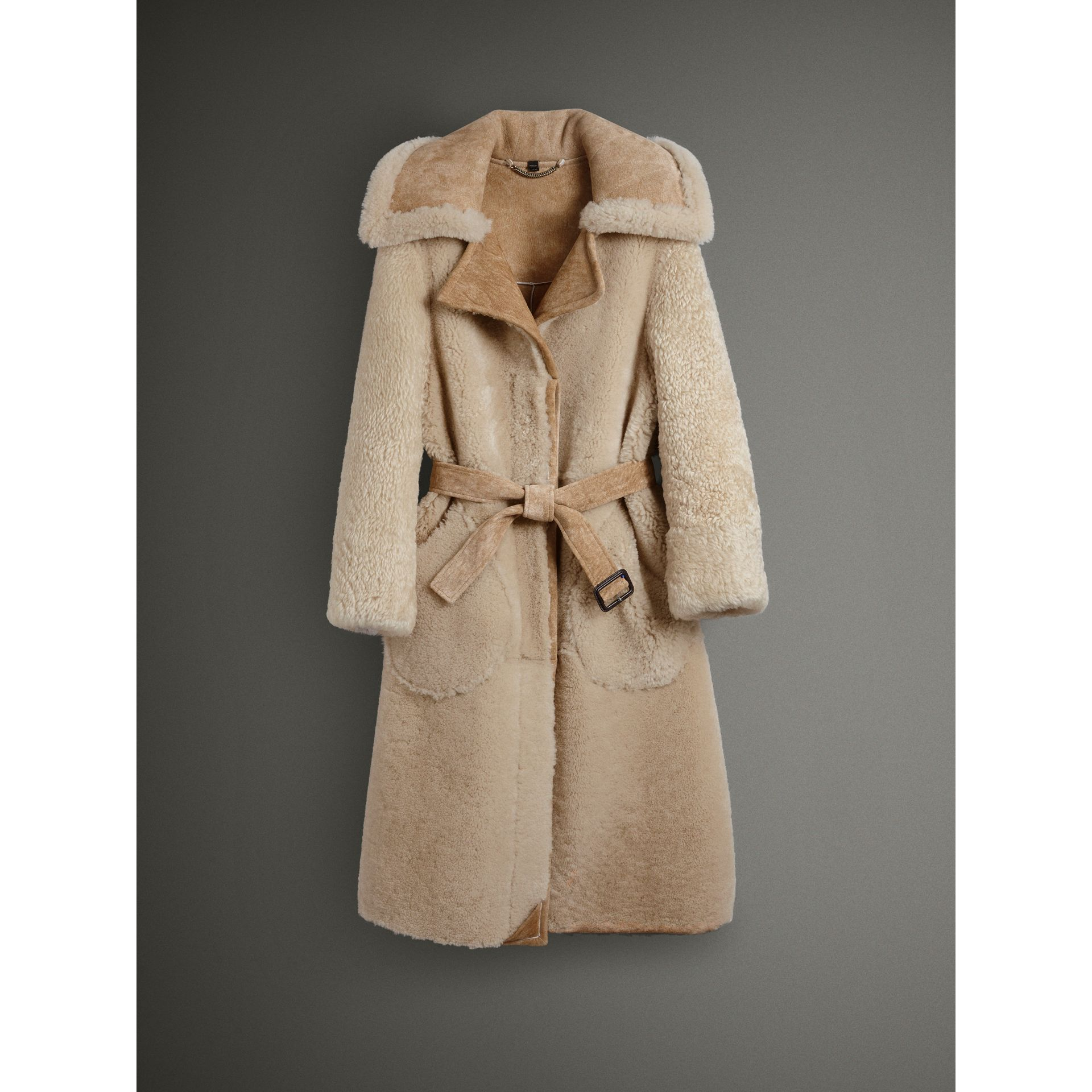Shearling Oversized Belted Coat in Camel/off White - Women | Burberry Singapore - gallery image 4