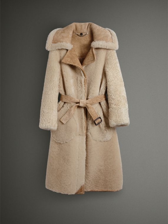 Shearling Oversized Belted Coat in Camel/off White