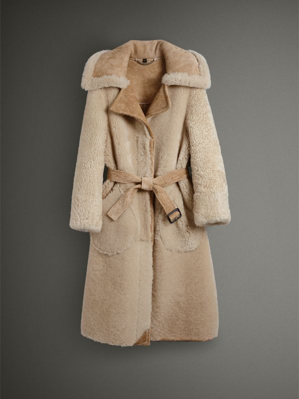 Shearling Oversized Belted Coat in Camel/off White - Women | Burberry United Kingdom - cell image 3