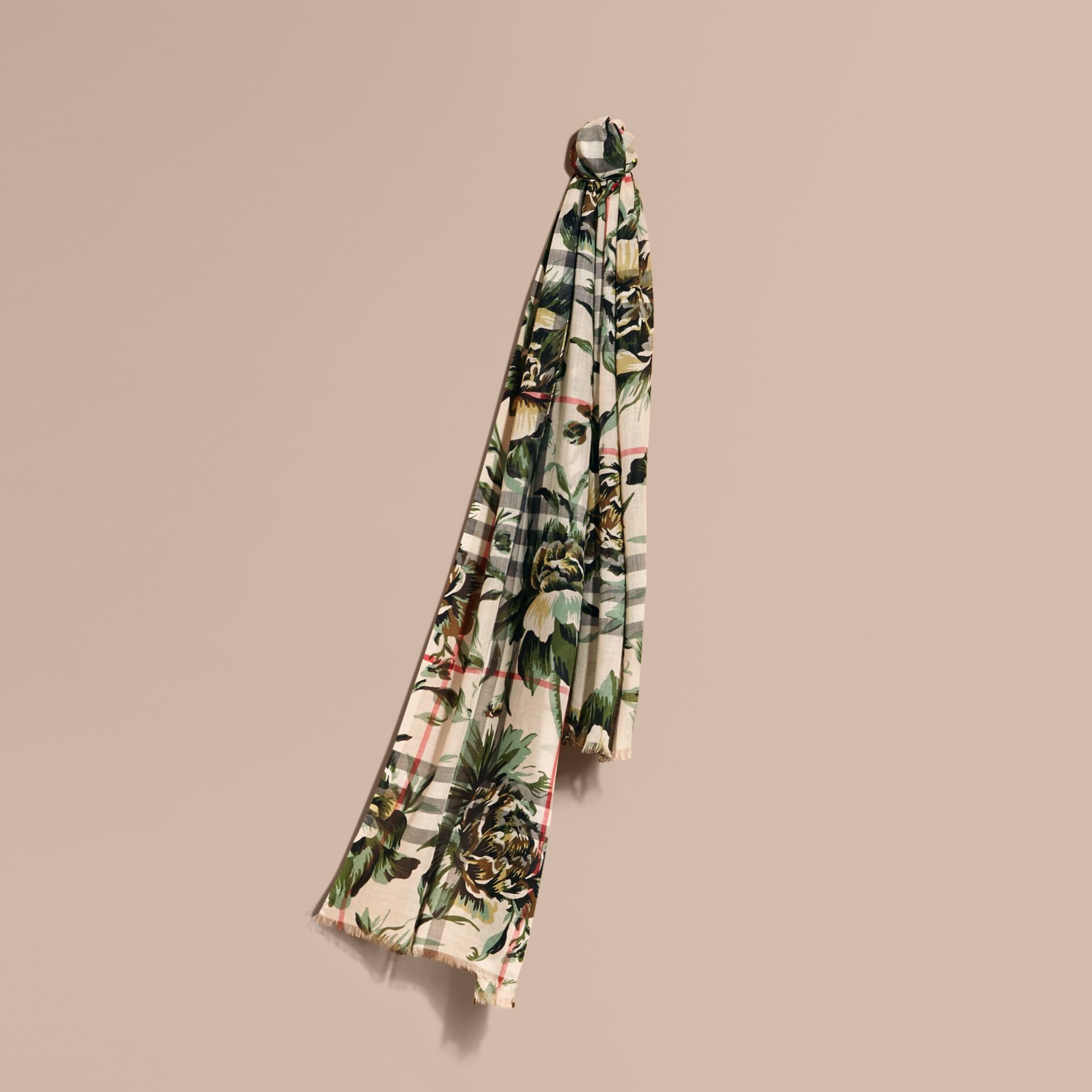 Peony Rose Print Check Wool Silk Scarf in Stone/apple Green - gallery image 1