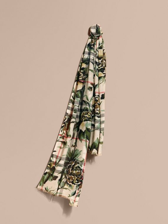 Peony Rose Print Check Wool Silk Scarf in Stone/apple Green - Women | Burberry