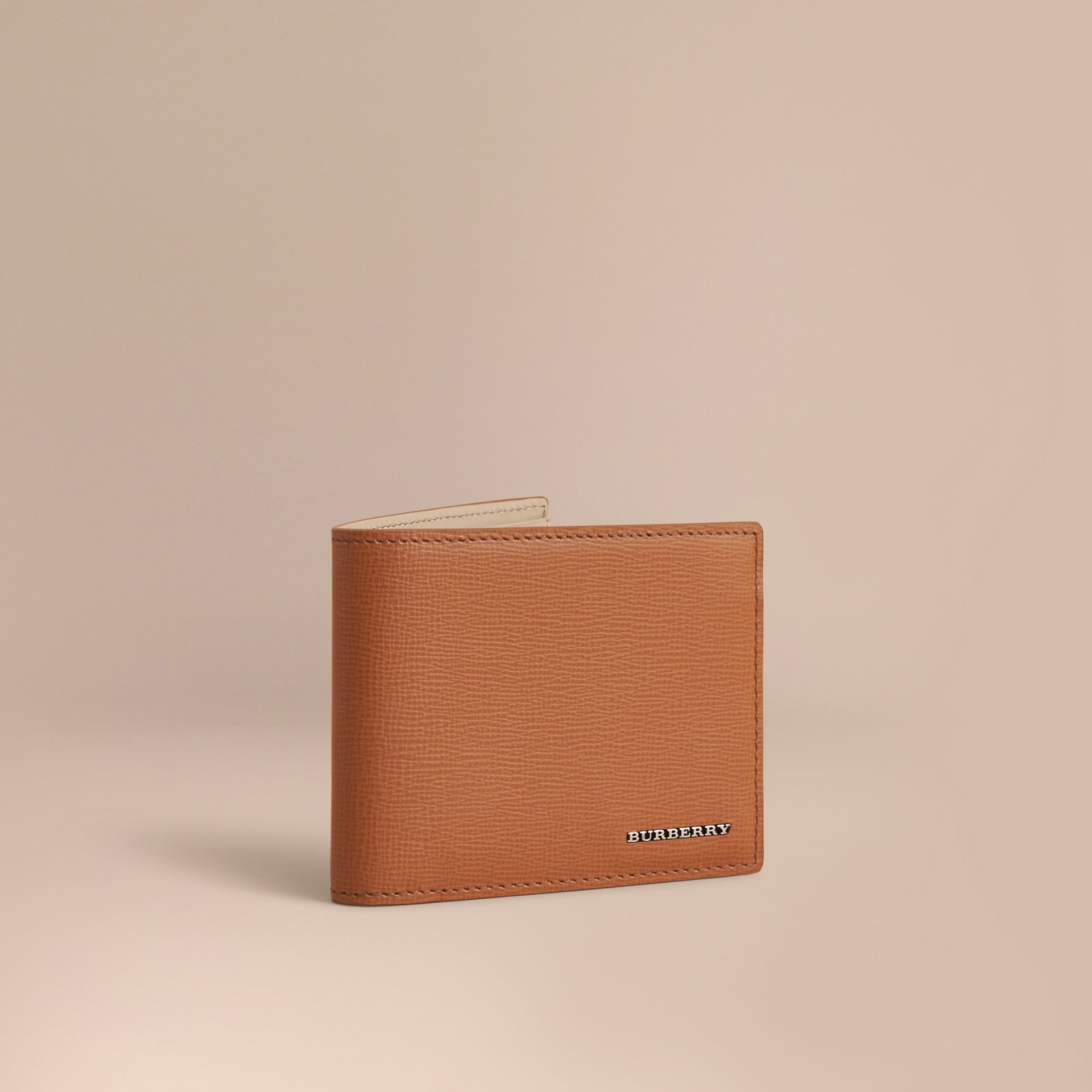 London Leather Bifold Wallet in Tan | Burberry - gallery image 1
