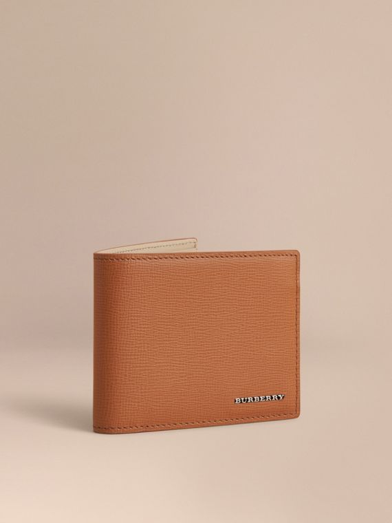 London Leather Slim Folding Wallet Tan