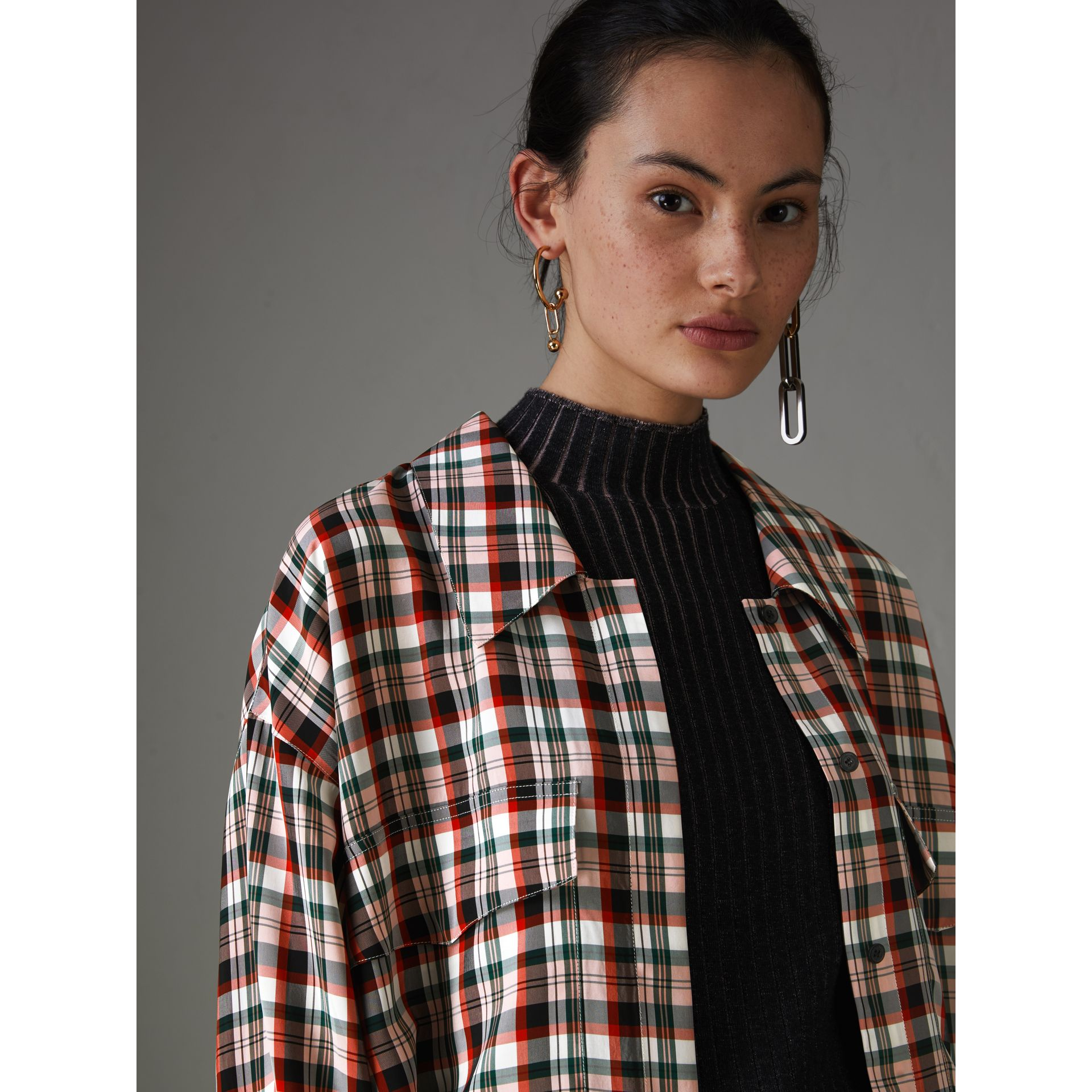 Small Scale Check Oversized Shirt in Bright Red - Women | Burberry United Kingdom - gallery image 1