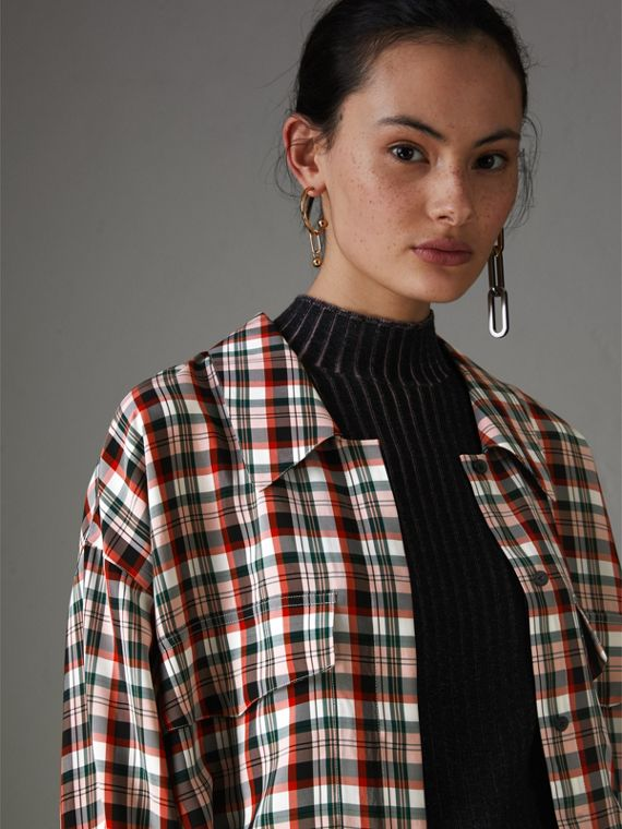 Small Scale Check Oversized Shirt in Bright Red
