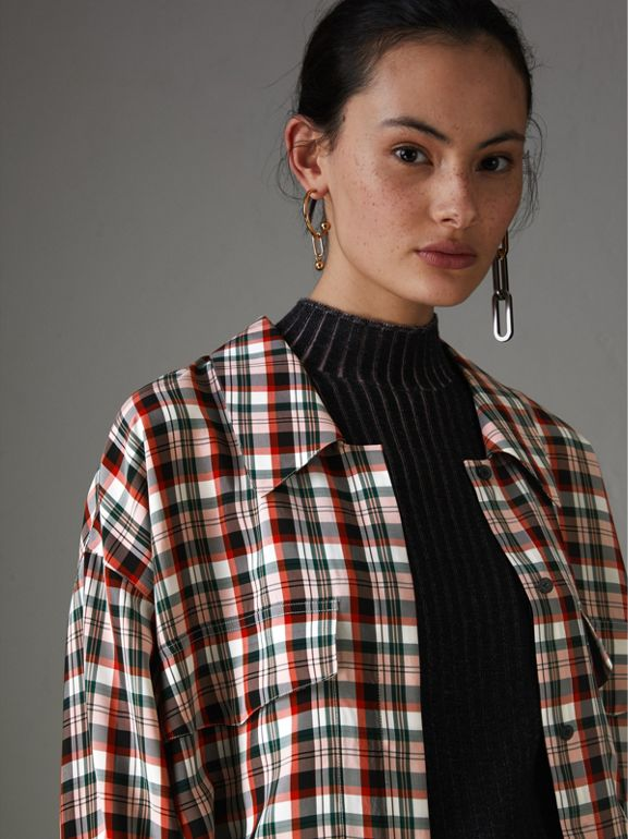 Small Scale Check Oversized Shirt in Bright Red - Women | Burberry United Kingdom - cell image 1
