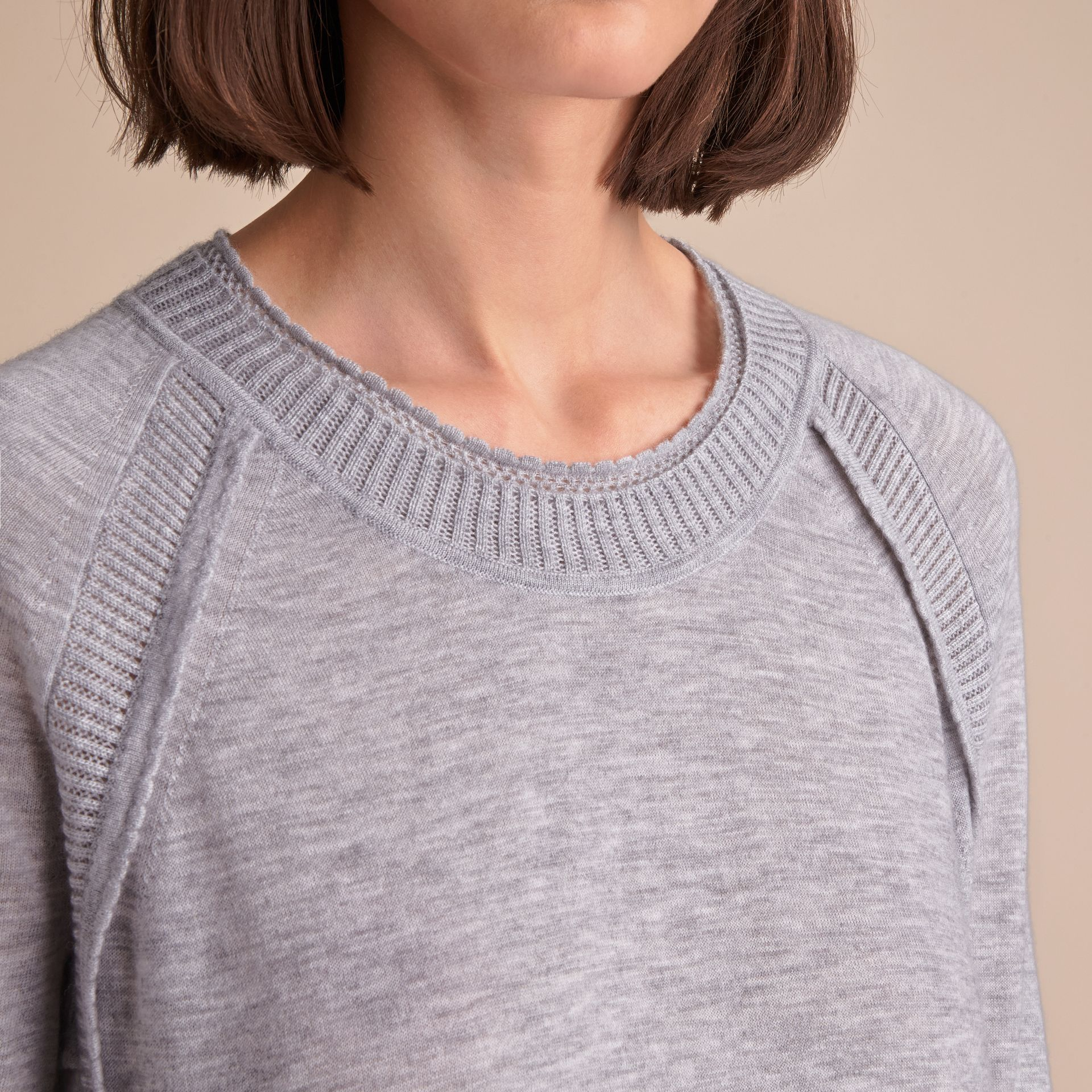 Open-knit Detail Cashmere Crew Neck Sweater in Light Grey Melange - gallery image 5
