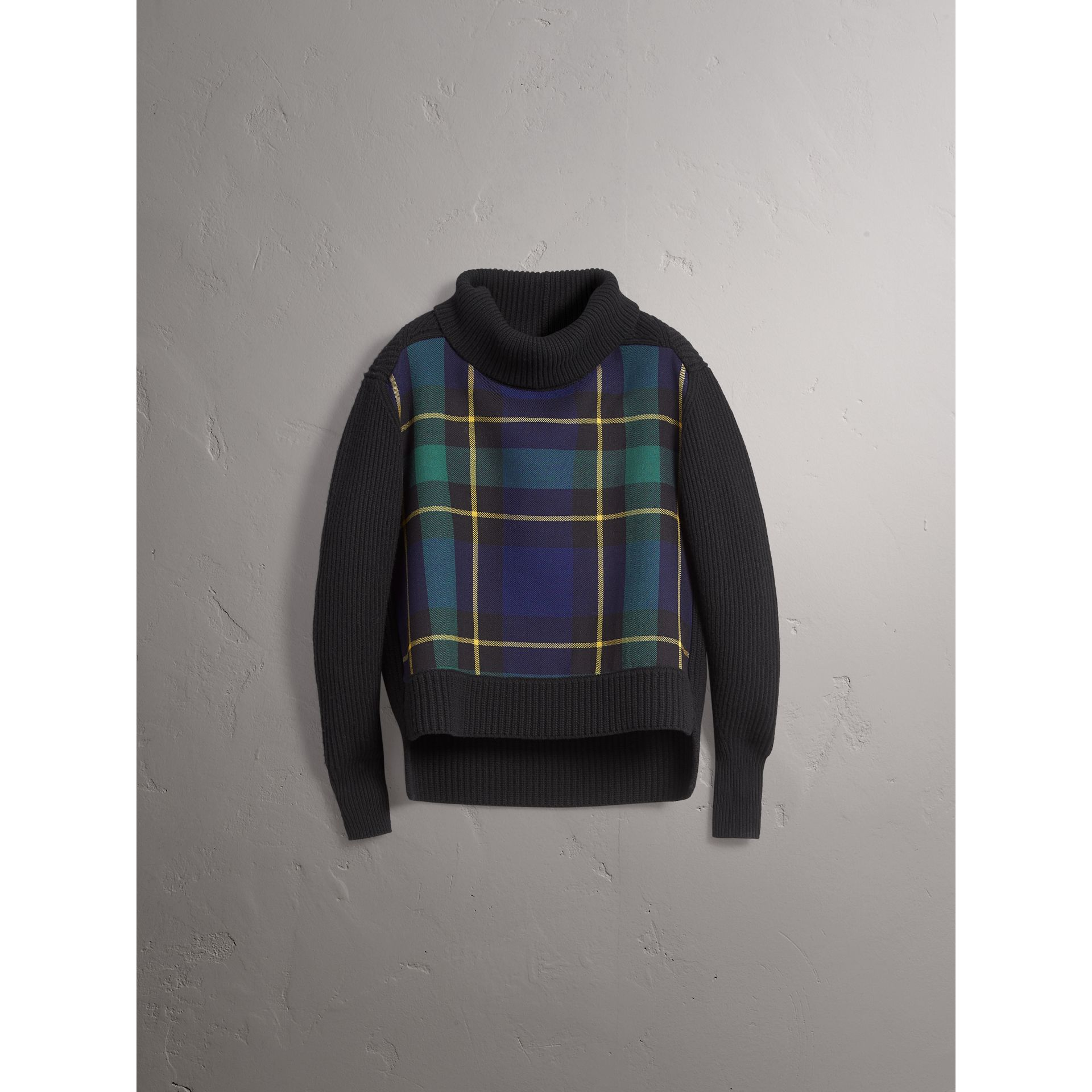 Tartan Panel Wool Cashmere Roll-neck Sweater in Black - Women | Burberry - gallery image 3