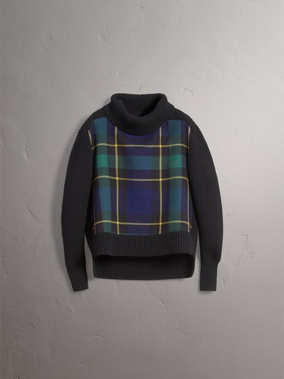 Tartan Panel Wool Cashmere Turtleneck Sweater in Black - Women | Burberry Australia - cell image 3