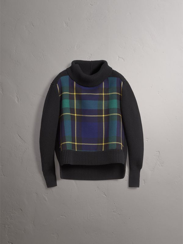 Tartan Panel Wool Cashmere Roll-neck Sweater in Black - Women | Burberry - cell image 3
