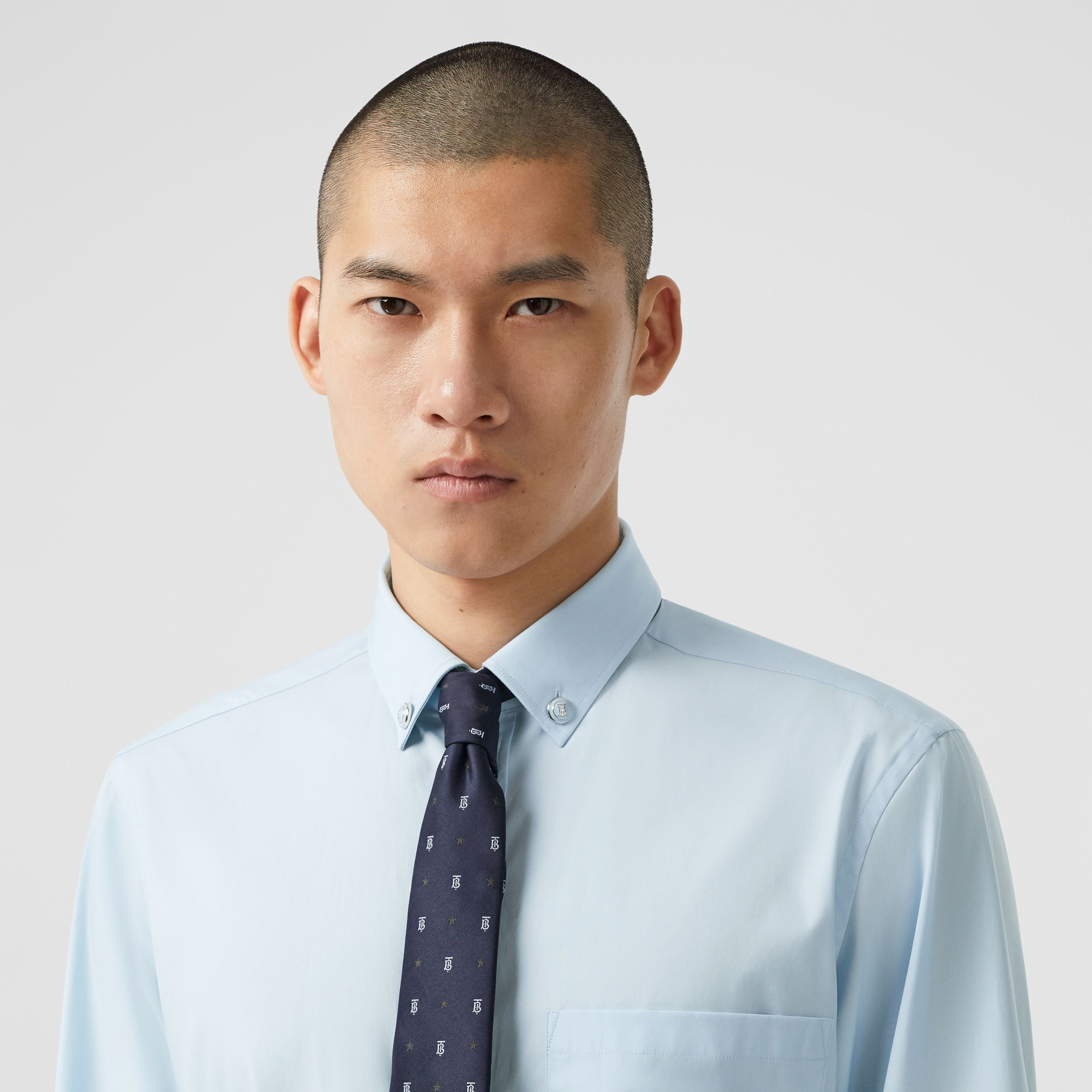 Slim Fit Stretch Cotton Poplin Shirt in Pale Blue - Men | Burberry - 2