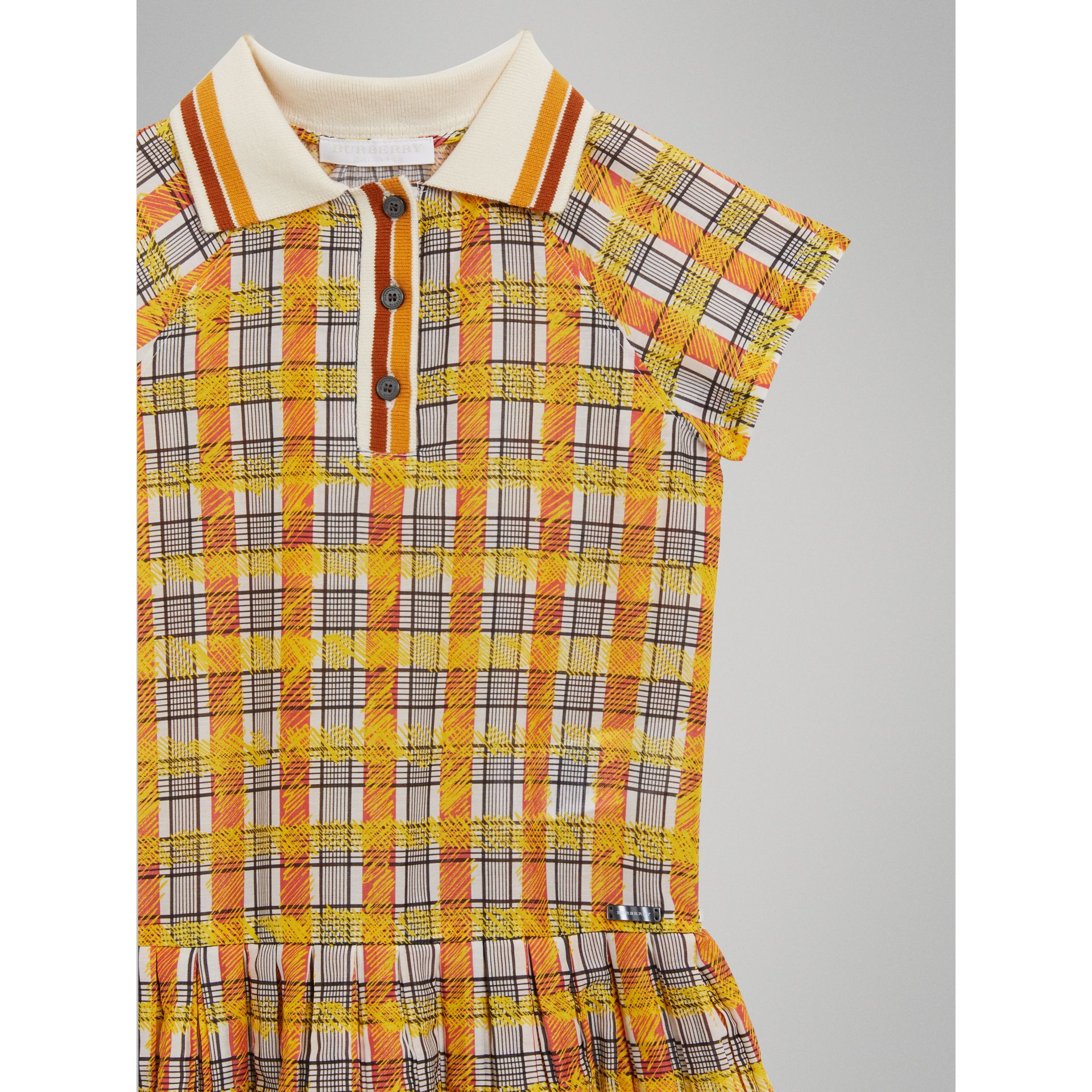 Scribble Check Collared Day Dress in Bright Yellow - Girl | Burberry - gallery image 4